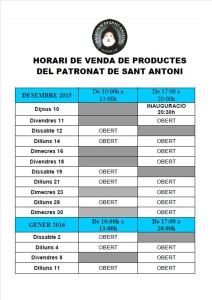 horari venda 2015